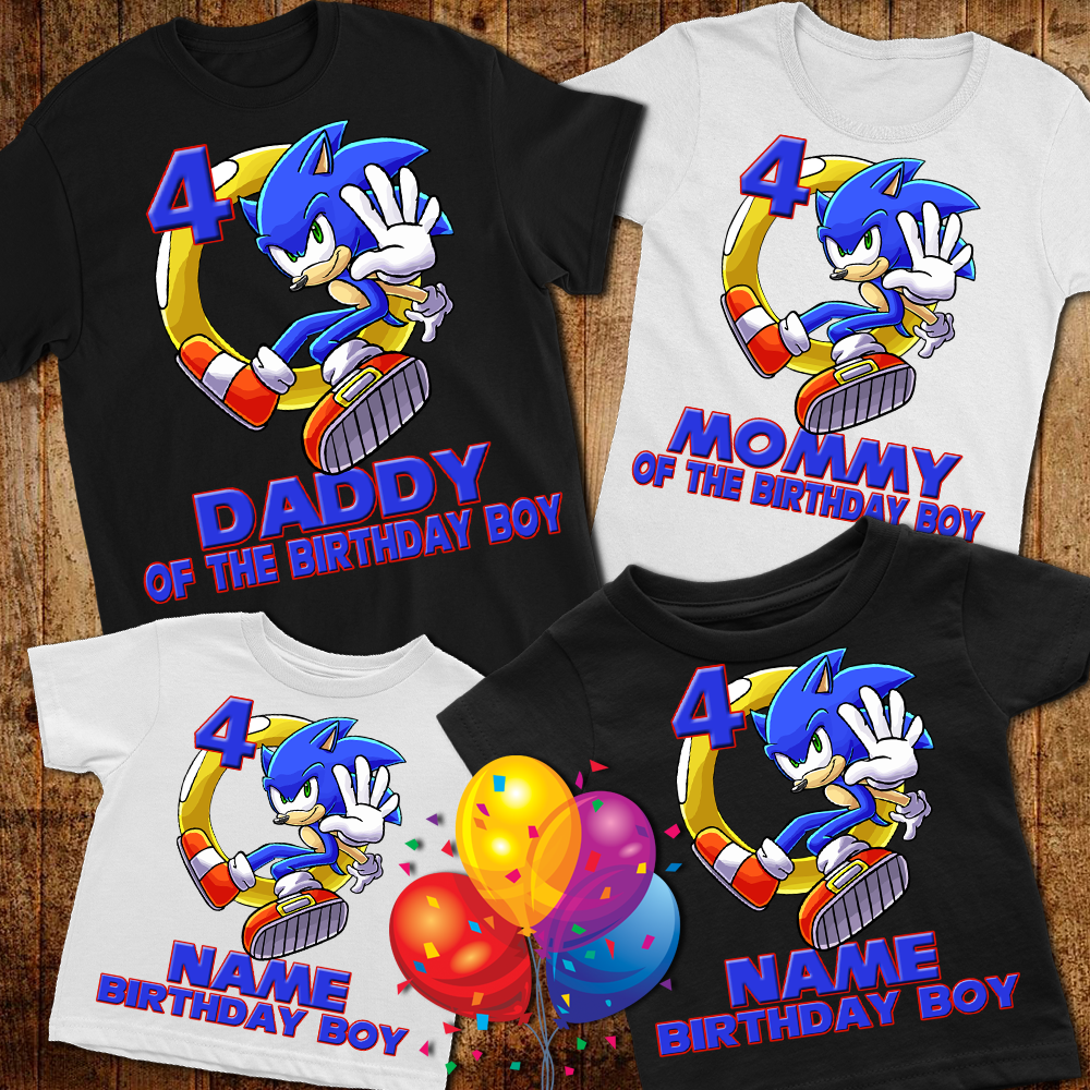 Sonic The Hedgehog Personalized Name Age Custom Birthday T Shirts Hobbycustom