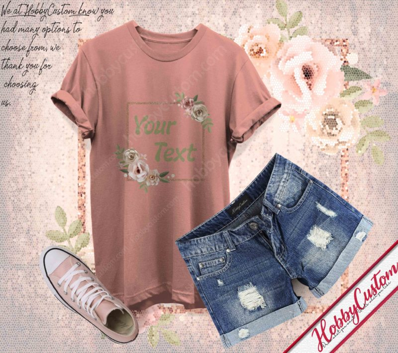 Youthful wreath stylized customize your text gift for flower lover custom t-shirt