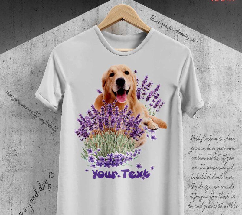 Cute golden retriever in the lavender forest - custom t-shirt