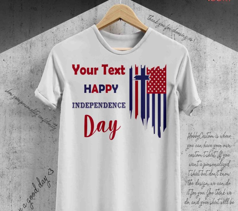 4th of july independence blue cross, custom t-shirt