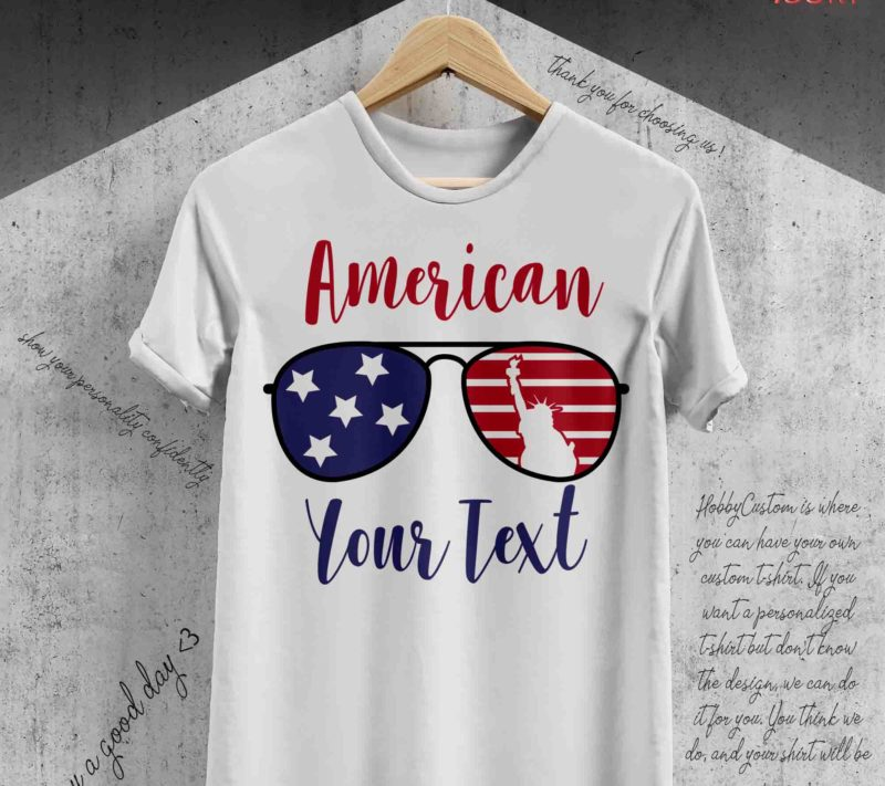 4th of july american flag in the shape of glasses, custom t-shirt