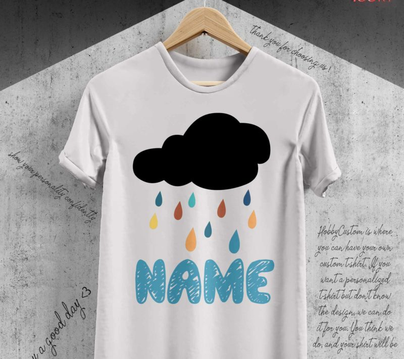 Dark clouds make seven-color rain back to school customize t-shirt